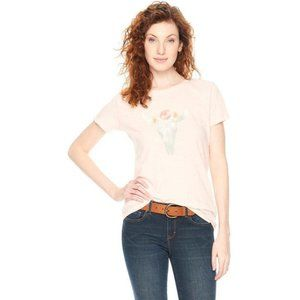 Bass & Co cow skull graphic t-shirt burn out roses